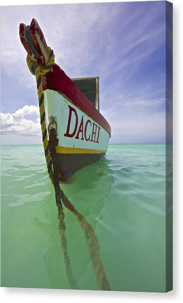 Anchored Colorful Fishing Boat Of Aruba II Canvas Print