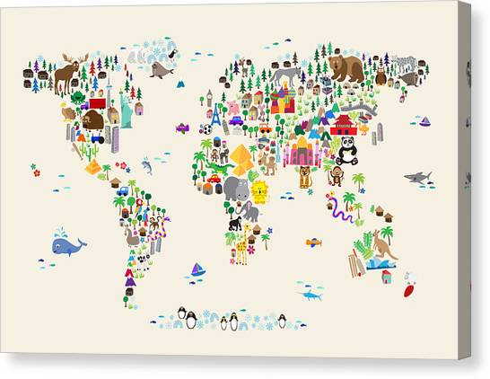 Cartoon Canvas Print - Animal Map Of The World For Children And Kids by Michael Tompsett
