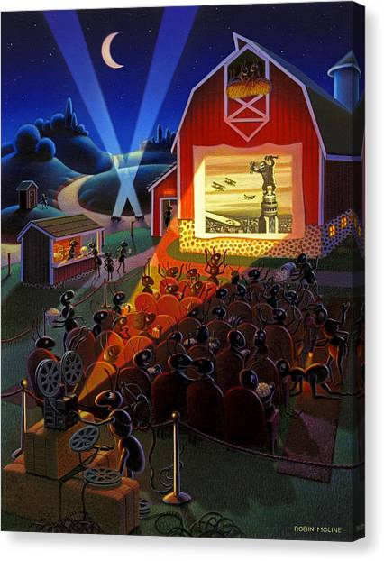 Ants Canvas Print - Ants At The Movies by Robin Moline