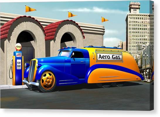 Art Deco Gas Truck Canvas Print