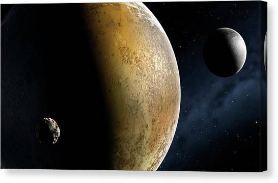Sun Belt Canvas Print - Artwork Of The Pluto System by Mark Garlick