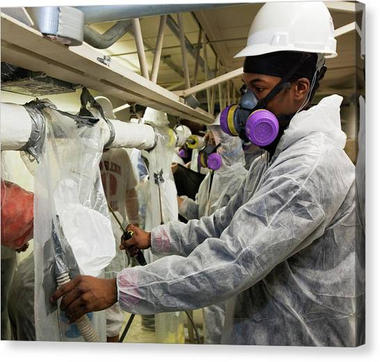 Protective Clothing Canvas Print - Asbestos Removal Training by Jim West