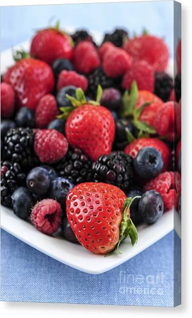 Blackberries Canvas Print - Assorted Fresh Berries by Elena Elisseeva