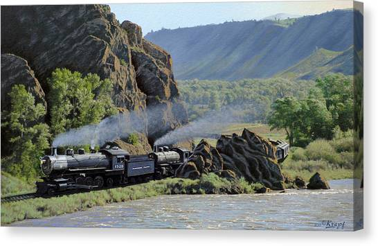 Railroads Canvas Print - At Point Of Rocks-bound For Yellowstone by Paul Krapf