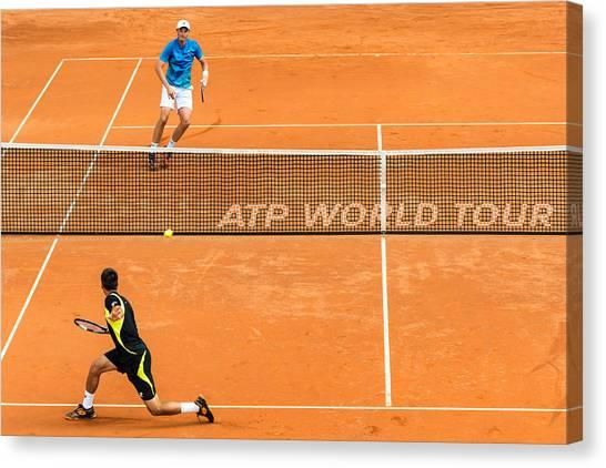 Tennis Pros Canvas Print - Atp Qualification In Stuttgart - Germany by Frank Gaertner