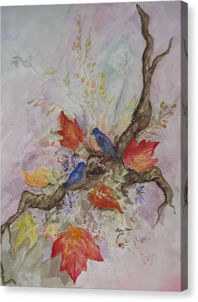 Autumn Bluebirds Canvas Print