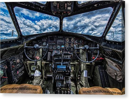 Cockpits Canvas Print - B-17 Cockpit by Mike Burgquist
