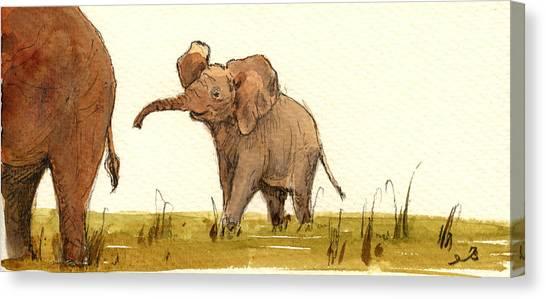 Animal Mother Canvas Print - Baby Elephant by Juan  Bosco