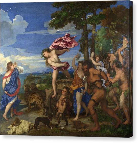 Erotic Framed Canvas Print - Bacchus And Ariadne by Titian