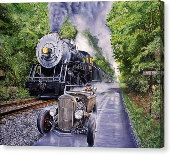 Trains Canvas Print - Backwoods Duel by Ruben Duran