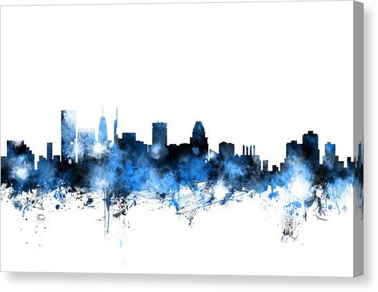 Baltimore Maryland Canvas Print - Baltimore Maryland Skyline by Michael Tompsett