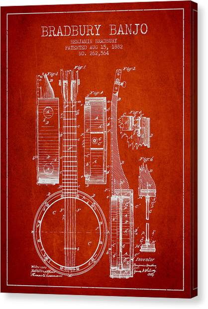 Banjos Canvas Print - Banjo Patent Drawing From 1882 - Red by Aged Pixel