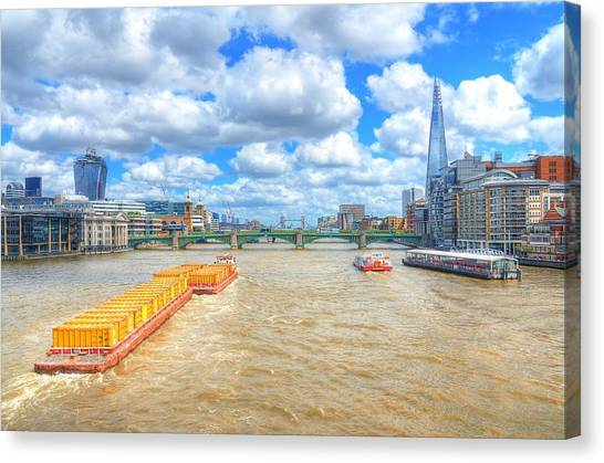 Freight Canvas Print - Barge On The Thames by Jim Hughes