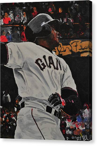 Barry Bonds Canvas Print - Barry Bonds World Record Breaking Home Run by Ruben Barbosa
