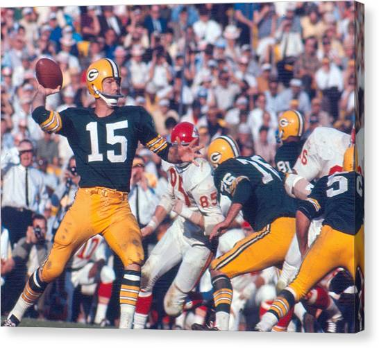 Football Canvas Print - Bart Starr By Art Rickerby by Retro Images Archive