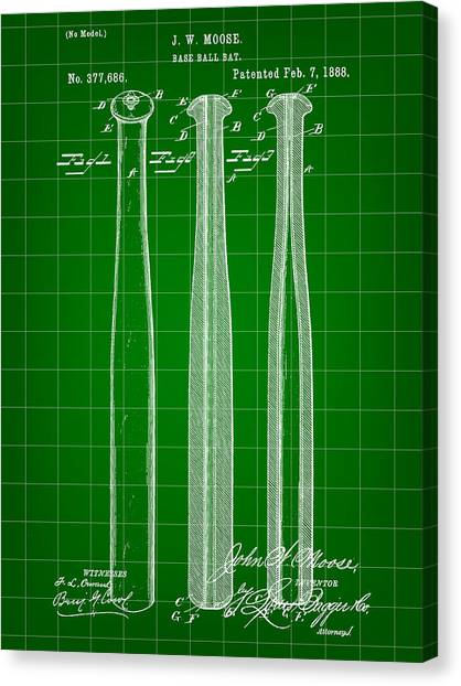 Fast Ball Canvas Print - Baseball Bat Patent 1888 - Green by Stephen Younts