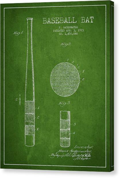 Baseball Bats Canvas Print - Baseball Bat Patent Drawing From 1923 by Aged Pixel