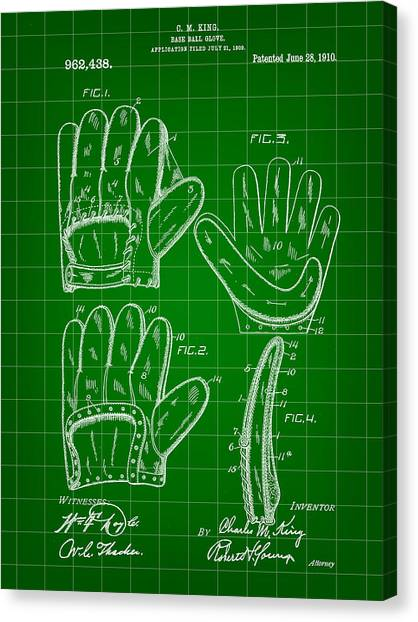 Fast Ball Canvas Print - Baseball Glove Patent 1909 - Green by Stephen Younts