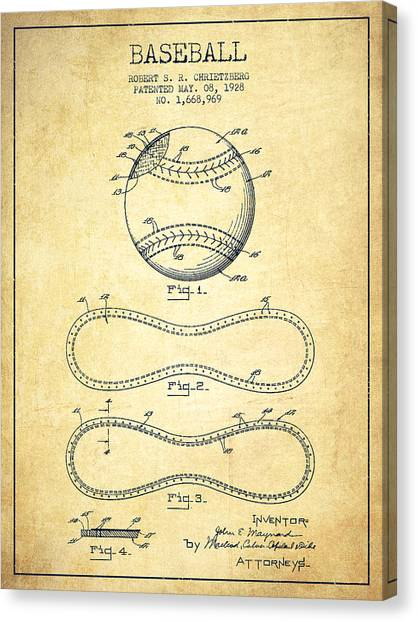 Softball Canvas Print - Baseball Patent Drawing From 1928 by Aged Pixel