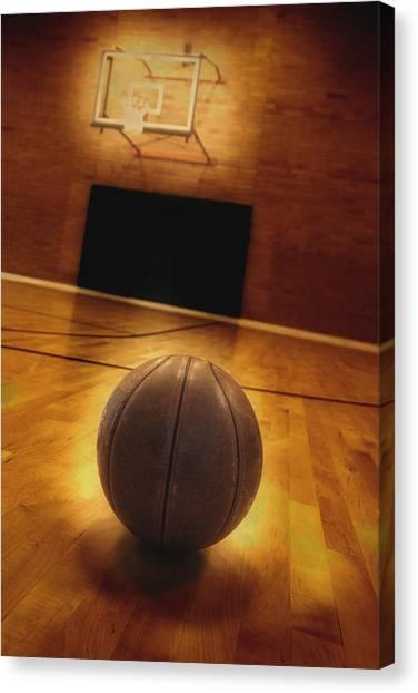Three Pointer Canvas Print - Basketball And Basketball Court by Lane Erickson
