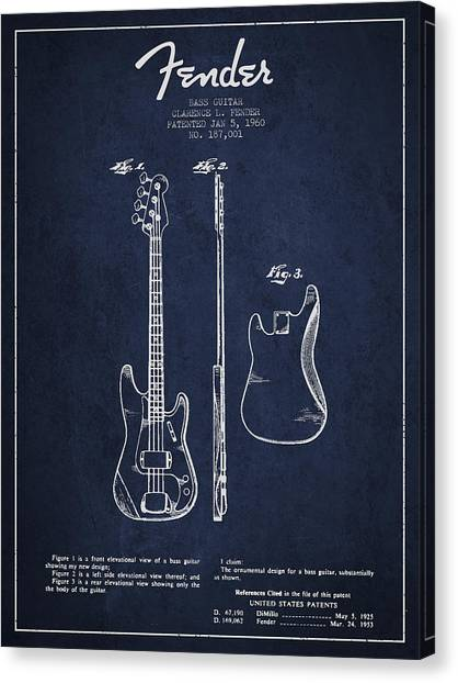 Fender Guitars Canvas Print - Bass Guitar Patent Drawing From 1960 by Aged Pixel