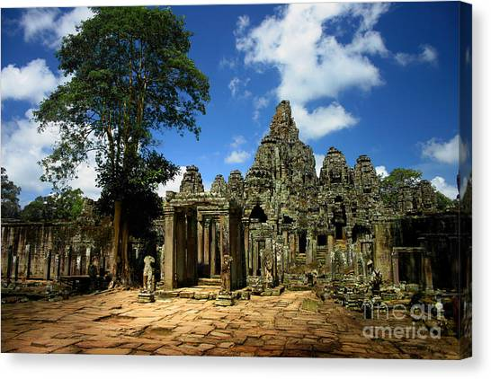 Bayon Temple View From The East Canvas Print