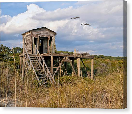 Beach Changing Shack Canvas Print
