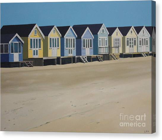 Beach Huts By The Seaside Canvas Print by Linda Monk