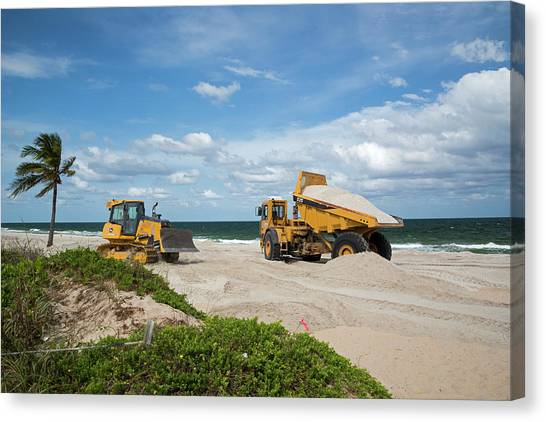 Dump Trucks Canvas Print - Beach Restoration Project by Jim West/science Photo Library