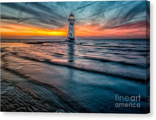 Wind Farms Canvas Print - Beach Sunset by Adrian Evans