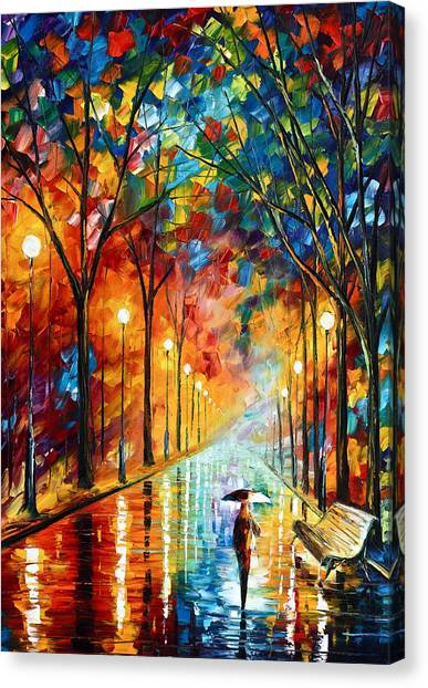 Park Benches Canvas Print - Before The Celebration by Leonid Afremov