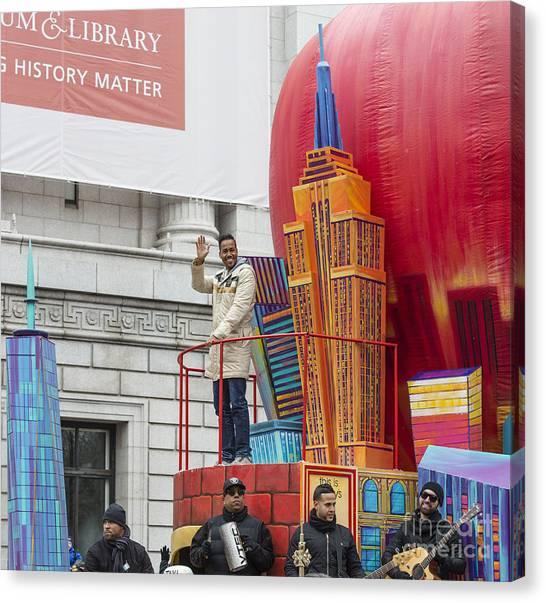 Macys Parade Canvas Print - Big Apple Float W. Romeo Santos By Ny Daily News by David Oppenheimer