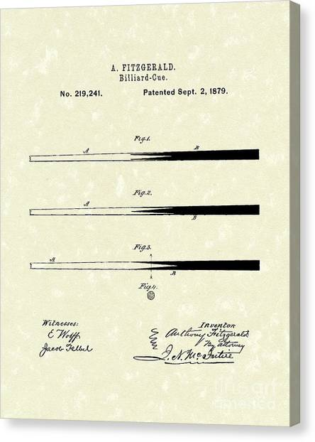 Parlors Canvas Print - Billiard Cue 1879 Patent Art by Prior Art Design