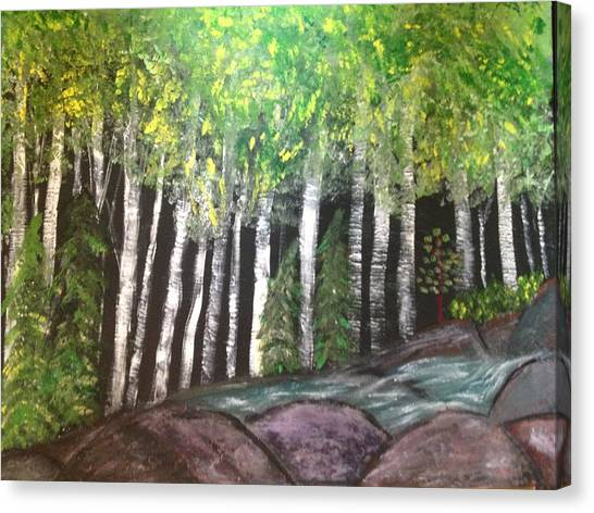 Birches By Falls Canvas Print by Paula Brown