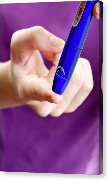 Diabetes Canvas Print - Blood Sugar Level Testing In Diabetes by Aj Photo