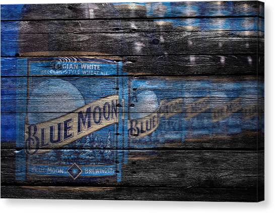 Beer Can Canvas Print - Blue Moon by Joe Hamilton