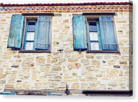 Window Canvas Print - Blue Shutters by Tom Gowanlock