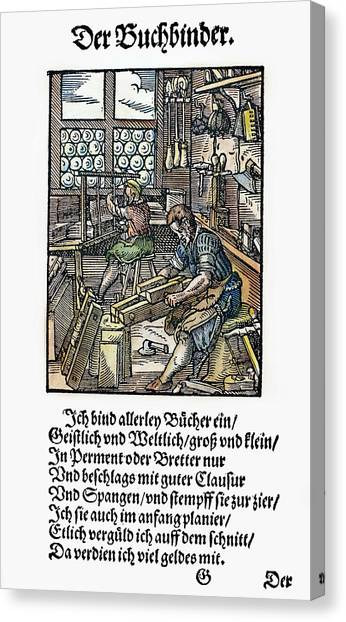 Binders Canvas Print - Bookbinder, 1568 by Granger