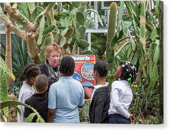 Elementary School Canvas Print - Botanical Greenhouse School Trip by Jim West
