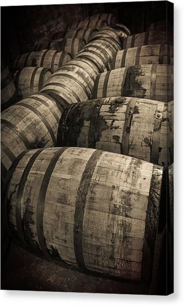 Bourbon Canvas Print - Bourbon Barrels by Karen Varnas