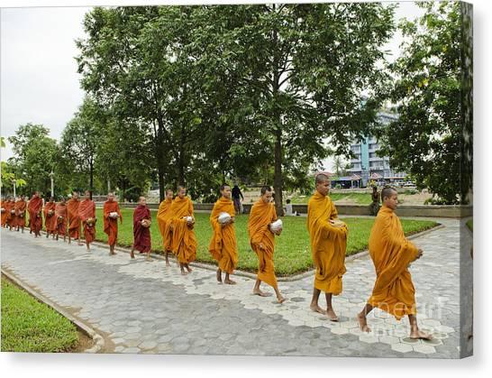 Buddhist Monks In Battambang Cambodia Canvas Print