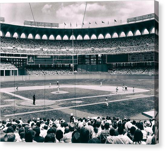 Analog Canvas Print - Busch Stadium - St Louis 1966 by Mountain Dreams
