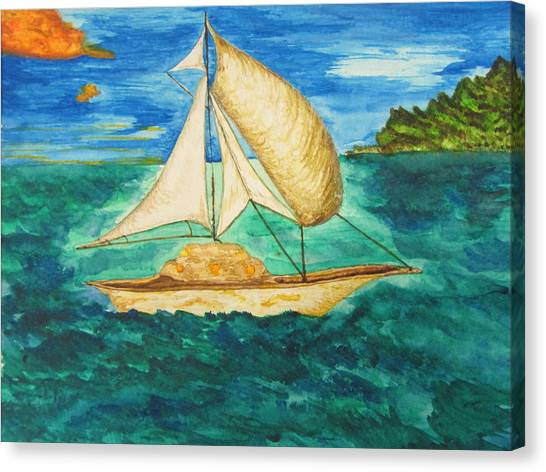 Camouflage Sailboat Canvas Print by Debbie Nester