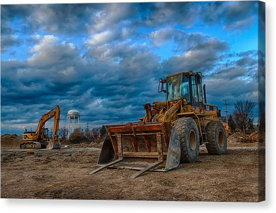 Bulldozers Canvas Print - Cat Bulldozer by Mike Burgquist