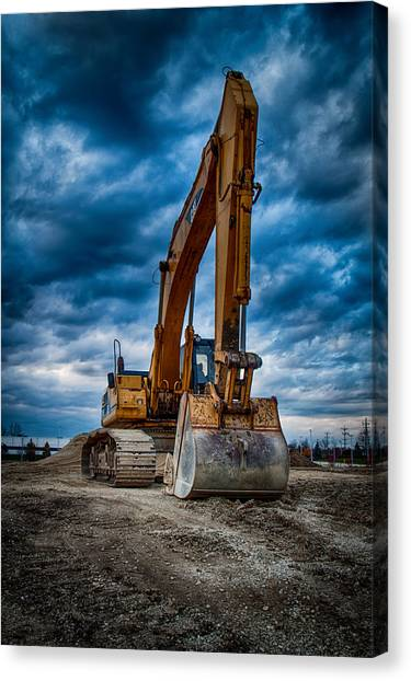 Bulldozers Canvas Print - Cat Excavator by Mike Burgquist
