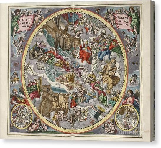 Celestial Canvas Print - Celestial Antique Map by Baltzgar