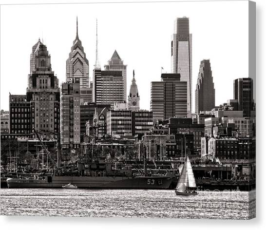 Philadelphia Phillies Canvas Print - Center City Philadelphia by Olivier Le Queinec