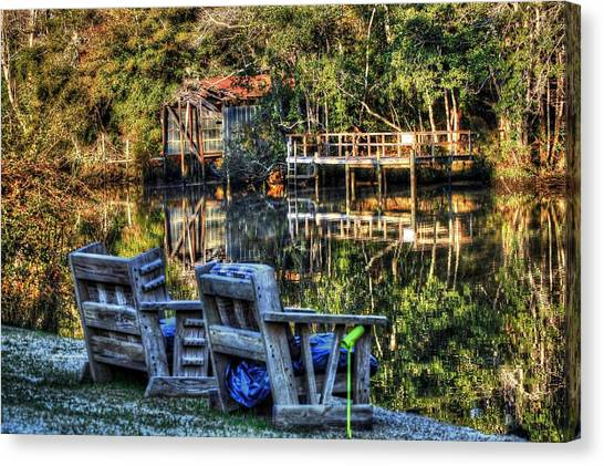2 Chairs On The Magnolia River Canvas Print