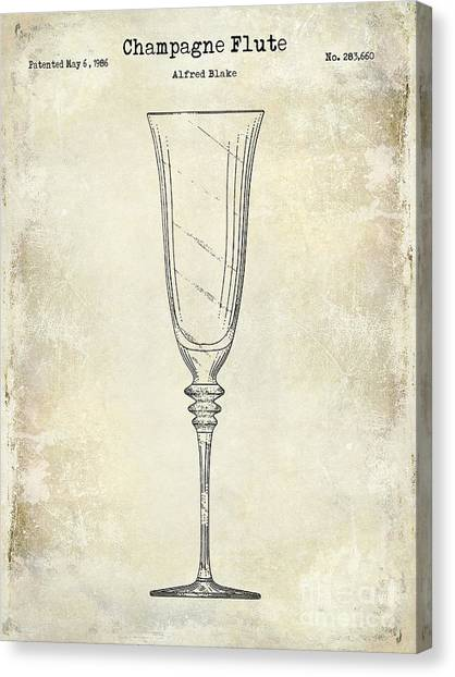 Champagne Canvas Print - Champagne Flute Patent Drawing  by Jon Neidert