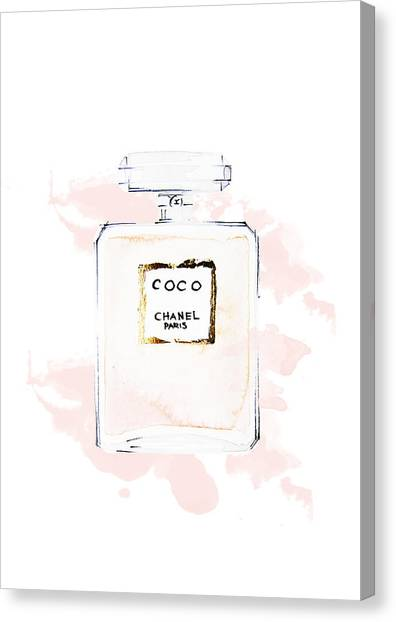 Chanel Canvas Print - Chanel Perfume, Watercolor Fashion Illustration  by Koma Art